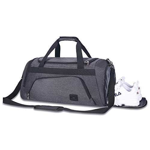 Sports Gym Bag with Wet Pocket & Shoes Compartment Travel Duffel Bag for Men and Women (Gray)