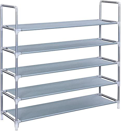 GKYI Organizador de zapatos de 5 niveles, resistente, ahorro de espacio, montaje rápido, no requiere herramientas, estante ajustable para zapatos, para armario, pasillo, dormitorio (gris)
