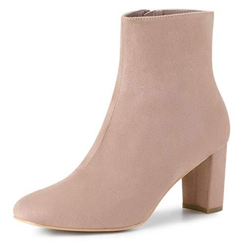 Allegra K Damen Spitze Reißverschluss Blockabsatz Ankle Boots Stiefel Altrosa 37.5