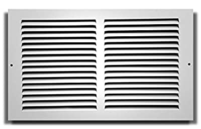 "14"" X 8"" Baseboard Return Air Grille - HVAC Vent Duct Cover - 7/8"" Margin Turnback for Flush Fit with Baseboard Work - White [Outer Dimensions: 15.75"" Width X 9.75"" Height]"