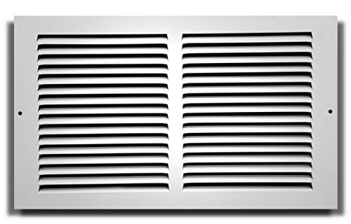 14' X 8' Baseboard Return Air Grille - HVAC Vent Duct Cover - 7/8' Margin Turnback for Flush Fit with Baseboard Work - White [Outer Dimensions: 15.75' Width X 9.75' Height]