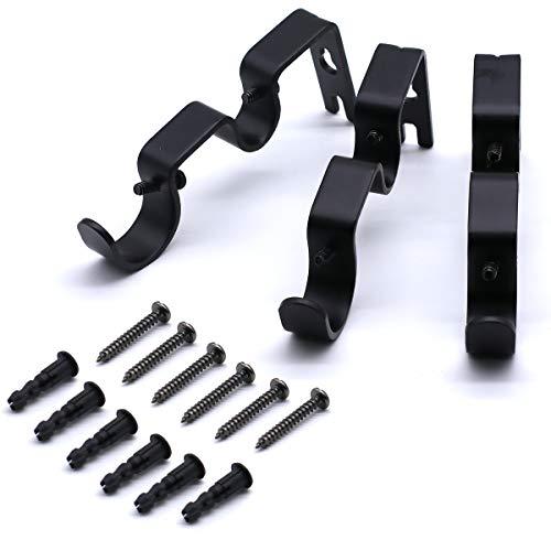 Soportes de barra de cortina de 3 piezas, soporte de barra de cortina de hierro de diseño de doble ranura (negro)