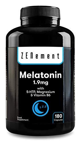 Melatonina 1,9 mg con 5-HTP, Magnesio y Vitamina B6, 180 Cápsulas | Ayuda con el insomnio o trastornos del sueño | Vegano, No-GMO, GMP, libre de aditivos, sin Gluten | de Zenement