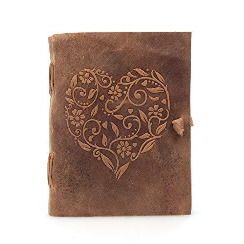Moonster Carnet de Notes ou Journal Intime pour Femmes en Cuir Véritable - Magnifique Bloc Note avec un Joli Cœur...