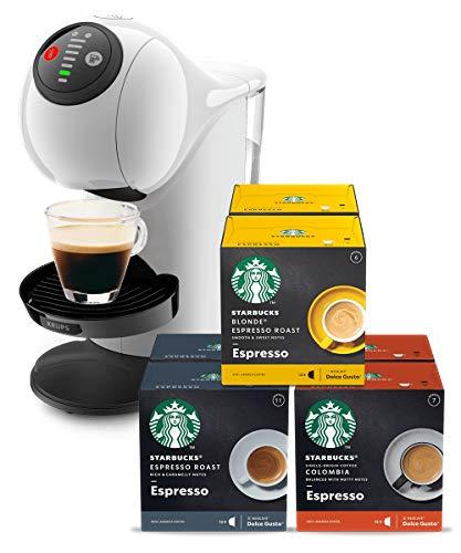 Krups KP2401 NESCAFÉ Dolce Gusto Genio S Kapselmaschine, Weiß + STARBUCKS by NESCAFÉ DOLCE GUSTO Kaffeekapseln Probierset, 72 Kapseln in 3 Espresso-Variationen (6 x 12)
