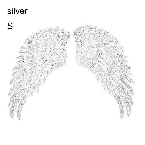 Tianayer 1 par de Las Lentejuelas del ala del ángel Parches Bordados cose en el Hierro en remiendos DIY Placa Apliques (S, Plata)