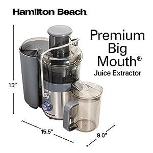 "Hamilton Beach Premium Juicer Machine, Big Mouth 3"" Feed Chute, Centrifugal, Easy Clean, 2-Speeds, BPA Free 40 oz Pitcher, 850W, Silver (67850) |"