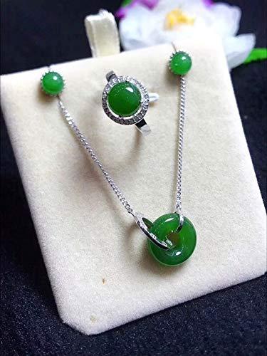 K-ONE Conjunto de Piedras Preciosas de Jade Verde con Incrustaciones de Plata S925 de Alto Grado, Anillo de Adorno de Moda para Mujer + Collar + Pendientes * Caja