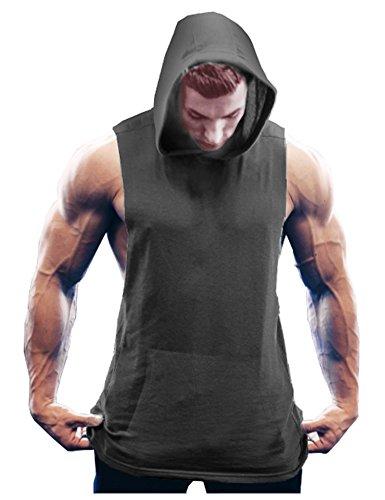 COOFANDY Men's Workout Hooded Tank Tops Bodybuilding Muscle Cut Off T Shirt Sleeveless Gym Hoodies Dark Grey