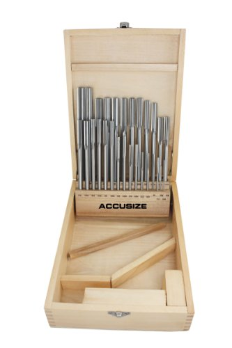Accusize Industrial Tools 29 Pc 1/16'' to 1/2'' by 1/64'' H.S.S. Chucking Reamer Set, Straight Flute, Right Hand Cut, 5500-SF00