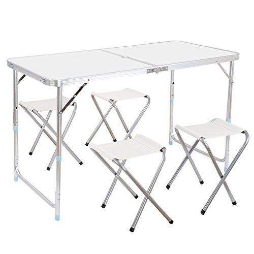 Finether Portable Folding Table Sturdy and Lightweight Steel Frame Legs, 4 Adjustable Heights feet, for Indoor/Outdoor Use,Camping Picnic, Party Dining, White