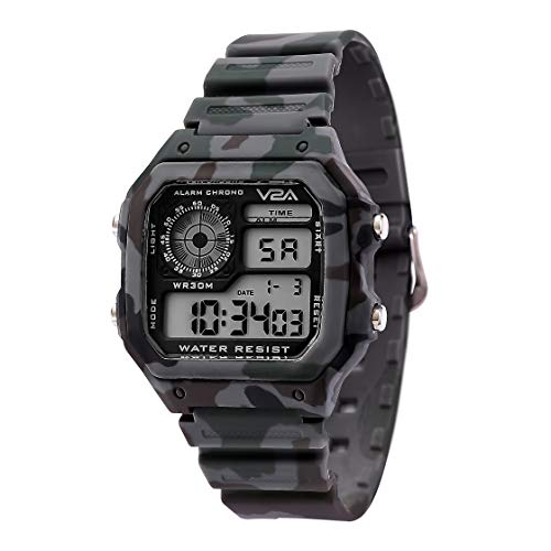 V2A Military Camouflage Small Dial Digital Sports Watch for Men and Boys