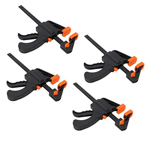 XFORT Quick Grip Clamps, Ratchet Bar Clamps, One Handed Bar Clamp, Ideal for Fast and Easy Clamping Applications [6 inch, 4 Pack]