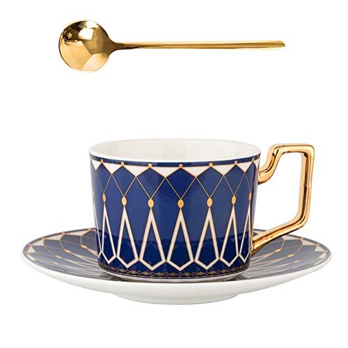 JMCRATE Tea Coffee Cups 7.4oz Bone China Ceramic Beautiful Blue Matte Glazed Tea Cup with Matching Saucers