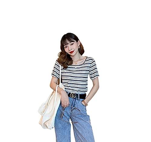 YUNDUO Camiseta Corta De Mujer Camiseta De Rayas Sueltas De Verano Camiseta De Manga Corta con Cuello Cuadrado Top Casual (Blanco,L)