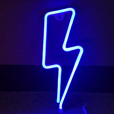 Pasyru Neon Light, Neon Light Neon Signs Lights, Battery and USB Operated Blue Lightning Neon Signs Decorative Lights, Wall Decor for Christmas,Birthday Party, Kids Room, Living Room Decor