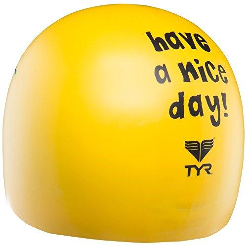 TYR Erwachsene Badekappe Have Nice Day, Yellow, One Size