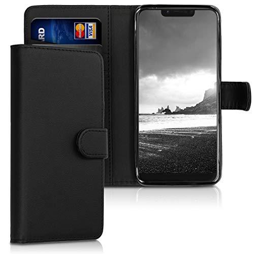 kwmobile Wallet Hülle kompatibel mit Wiko View 2 Go - Hülle Kunstleder mit Kartenfächern Stand in Schwarz