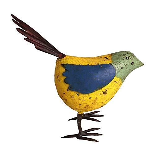 L'Héritier Du Temps Oiseau Oisillon Représentation de Volatile en Fer Métal Objet Décoratif Coloré Intérieur Extérieur Jaune Vert Bleu 8,5x22,5x24cm