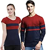 LIME Regular fit Round Neck Full Sleeves Pack of 2 Poly Cotton T-Shirt
