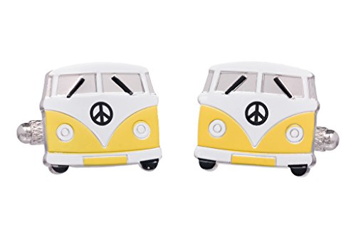 Yellow VW Camper Van silver-plated torpedo cufflinks in padded gift box