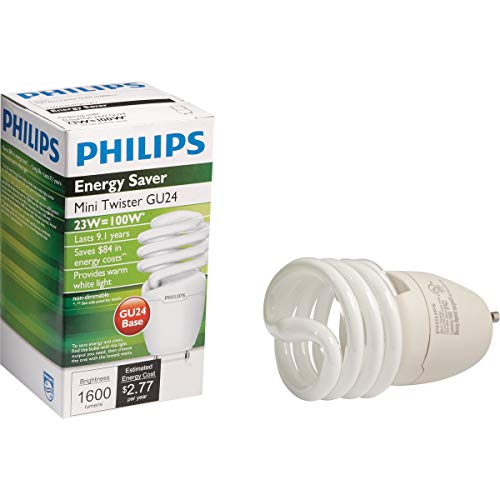 Philips Lighting 454215 EL/mdTQS Energy Saver Compact Fluorescent Lamp 23 Watt GU24 Base 1600 Lumens 80 CRI 2700K Warm White