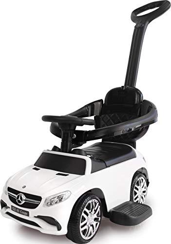 Jamara 460452 Rutscher Mercedes-AMG GLE 63 3in1-Kippschutz, Kofferraum, Schub-und Haltestange mit Lenkfunktion, Rückenlehne, Schutzbügel, ausziehbare Fußauflage, Sound/Hupe am Lenkrad, weiß