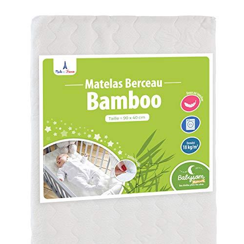 Babysom - Matelas de Berceau Bamboo - 90x40 cm | Viscose au toucher Ultra Doux | Forme Rectangulaire | Épaisseur 5 cm | Déhoussable | Oeko-Tex® | Fabrication française
