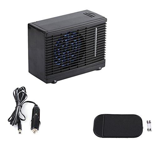 Enfriador de aire, Mini Aire Acondicionado Evaporativo Ventilador de Refrigeración Portátil 12V Coche Camión Hogar Enfriador de Agua Negro 20 x 11 x 15cm