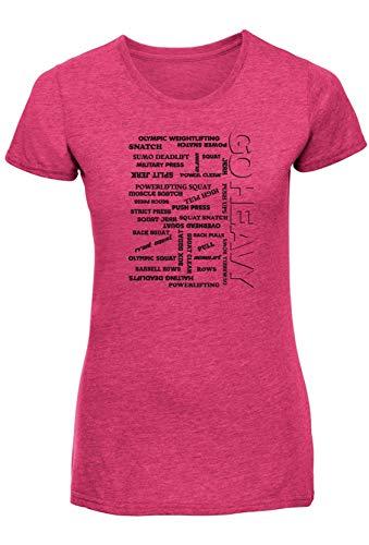 GO HEAVY Damen Kurzarm Tailliert Sport Fitness Trainings Gym T-Shirt | Pink L