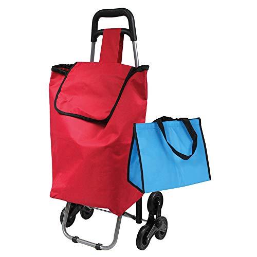 Einkaufsroller 3 Räder 90x44x30cm rot Kühlfach 42L bis 25kg
