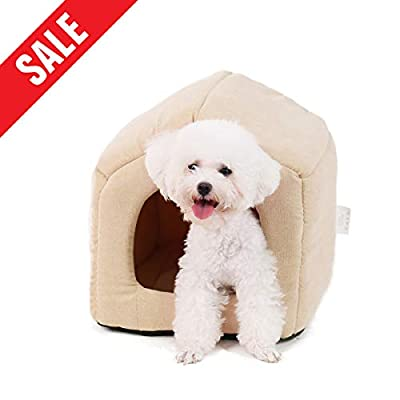 Ohana 2 in 1 Square Dog House Bed Indoor Dog Kennel with roof Sofa Bed with Detachable Cushion for Cats and Dogs