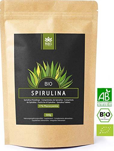 Spiruline Bio label bio AB. 1000 Comprimés de 500mg, purs sans excipient. 17% de Phycocyanine. 100% naturels. Aucun additif. Végans, naturels et issus de l'agriculture biologique contrôlée.