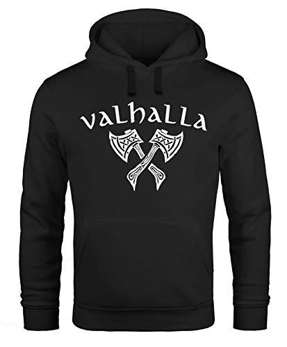 Neverless® Hoodie Herren Valhalla Viking Axt Nordische Mythologie Odin Print Aufdruck Fashion Streetstyle schwarz L