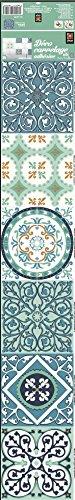 Décoration adhésive pour CARRELAGE 260593 Carreaux de Ciment, Polyvinyle, Vert/Orange, 15 x 15 x 0,1 cm