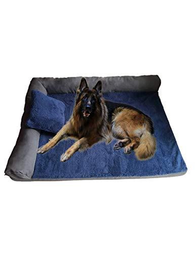 RAIKOU zacht hondenbed, hondenkussen met knuffelig pluche, gewatteerd wasbaar huisdierbed hondenkussen hondenbank hondenmand, 80x60x7cm, navy