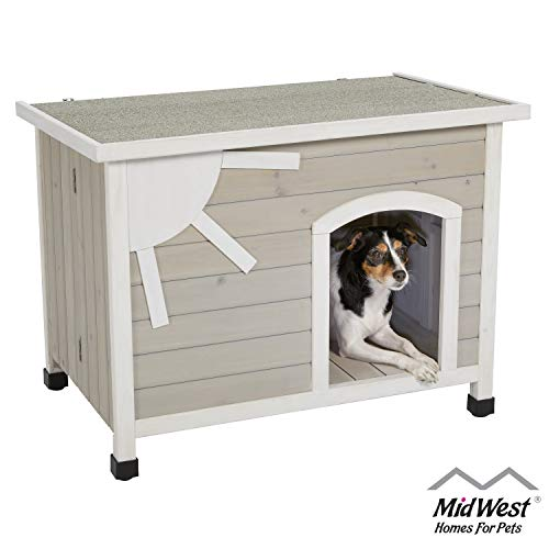 MidWest Homes for Pets Eillo Folding Outdoor Wood Dog House, No Tools Required for Assembly | Dog House Ideal for Small Dog Breeds, Beige (12EWDH-S)