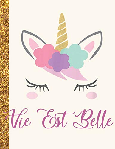 La Vie Est Belle: La Vie Est Belle Unicorn Personalized Black Paper SketchBook for Girls and Kids to Drawing and Sketching Doodle Taking Note Marble Size 8.5 x 11