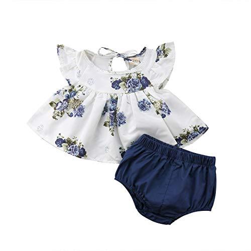 Baby Neugeborene 2-teiliges Set bestehend aus Oberteil Oberteil mit Blumenmuster ohne Ärmel mit Rüschen Kleid Kurzhose, Sommerkleid für kleine Mädchen Casual Party Foto, Blau 1-2 Jahre