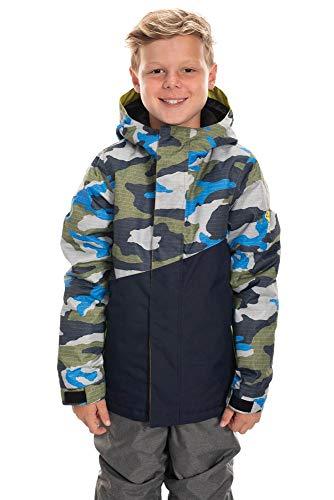 686 Boy's Cross Insulated Jacket - Waterproof Ski/Snowboard Winter Coat, Navy Camo Colorblock, Large