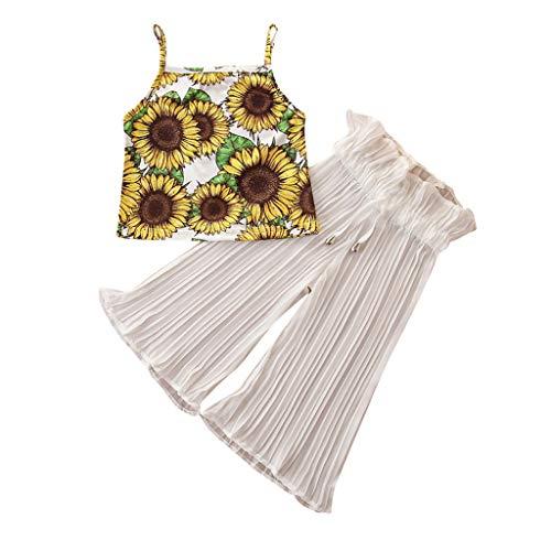 Kinder Baby Mädchen Sonnenblume Blumen Hosenträger Weste Tops + Solid Ausgestellt Hose Set