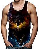 Rave on Friday Summer Camisetas de Hombre Sin Mangas 3D Impresión Novedad Lobo Gráfico Gym...