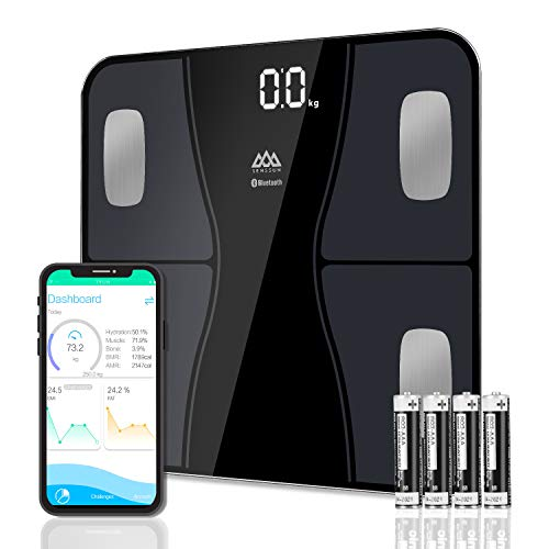 SENSSUN Bluetooth Body Fat Scale, Digital Body Weight Bathroom Scales Weighing Scale with Smart BMI Scale, Body Composition Monitors with Smartphone App, FDA Approved