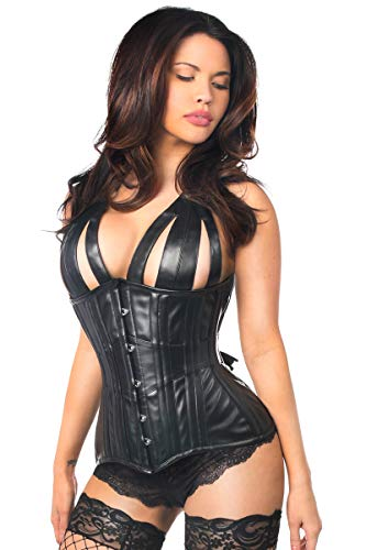 Daisy corsets Top Drawer Faux Leather Steel Boned Underbust Corset