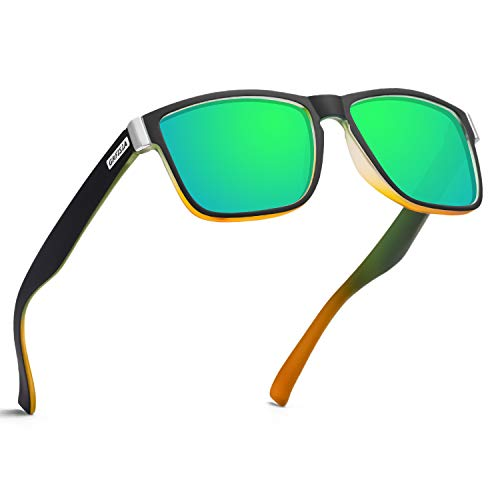 GRFISIA Vintage Polarized Sunglasses for Men and Women Driving Sun glasses 100% UV Protection (Matte green orange frame-green mirror)
