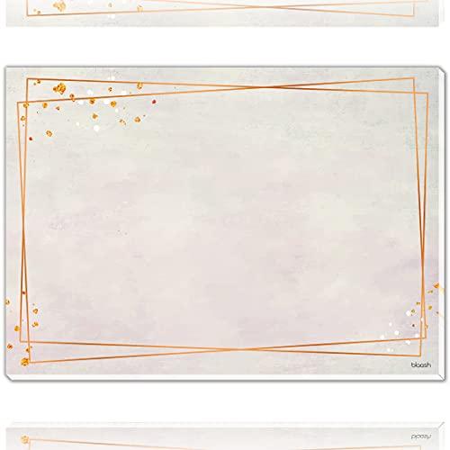 blaash Vade de escritorio de papel DIN A2 para adultos, bloc de 25 hojas con mucho espacio para notas, tareas, bocetos y dibujos, moderna base de escritorio, base de papel, color oro rosa