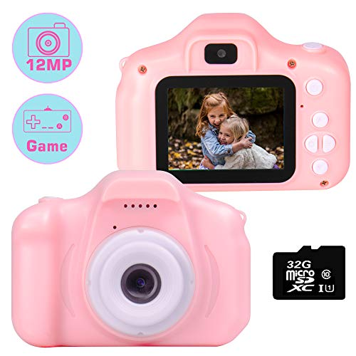 "le-idea Kinder Kamera, Kids Camera Digitalkamera mit HD 1080P / Dual 12 Megapixel Kamera/ 2.0"" IPS Bildschirm/ 32G TF-Card Enthalten(Rosa)"