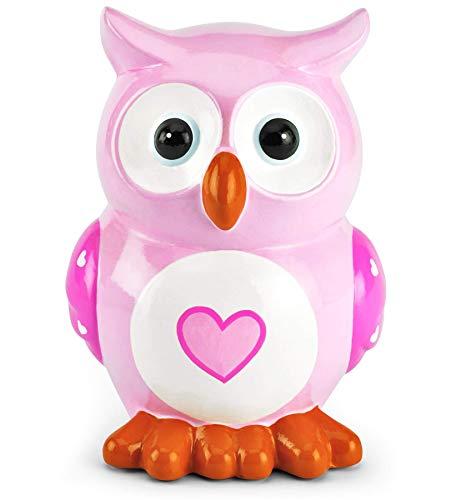 Mousehouse Gifts - Kinder Spardose - Eulen-Design mit Herz - Geschenk für Jungen/Mädchen - Rosa