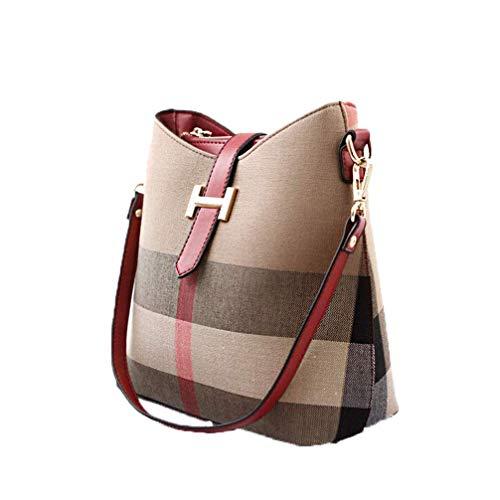 BORKE Canvas Kariert Handtasche Damen Crossbody Umhänge Frauentasche Stylische Lässig Bags Reißverschluss Verschleißfest Atmungsaktiv Handbag Outdoor Travel Schultertasche (Rot)