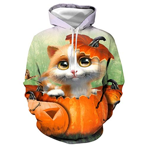 Coppia di Costumi di Halloween, Felpa con Cappuccio, Unisex, con Stampa 3D di Gatto, a Maniche Lunghe, per Feste, Cosplay, Taglie S-3XL Bianco L